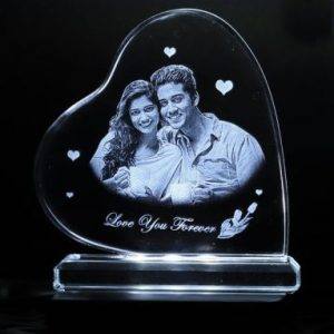 Personalised  2D Crystal Heart Wide