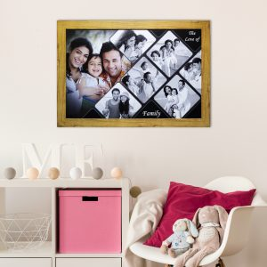 Family collage wall wooden texture Frame
